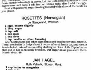 Rosettes, Women's Missionary Fellowship Cookbook 1991, Lutheran Brethren Fellowship Church, Williston, North Dakota