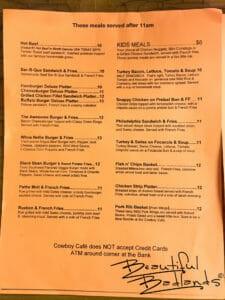 Lunch Served after 11 am at Cowboy Cafe, Medora, North Dakota