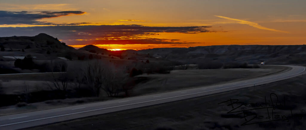 Sunset over I-94 in the Badlands of North Dakota