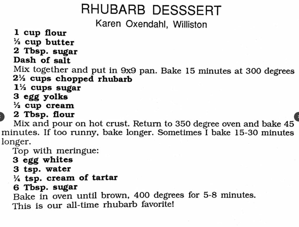 Rhubarb Dessert, Women's Missionary Fellowship Cookbook