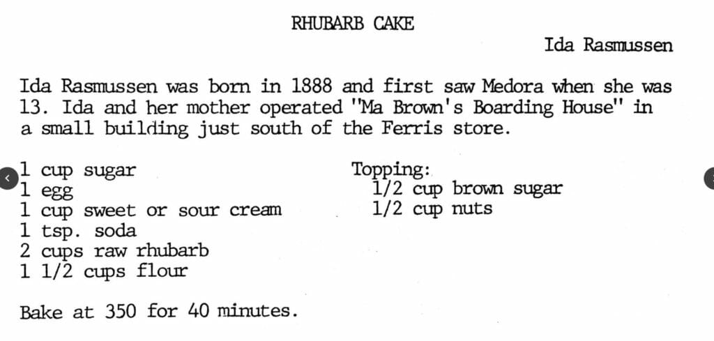 Rhubarb Cake, A Taste of Medora Recipe Collection