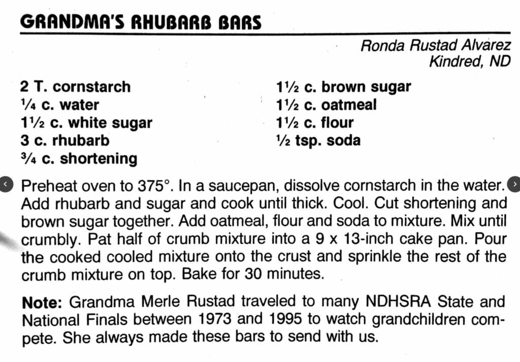 Grandma's Rhubarb Bars, Cowboy Hall of Fame Cookbook