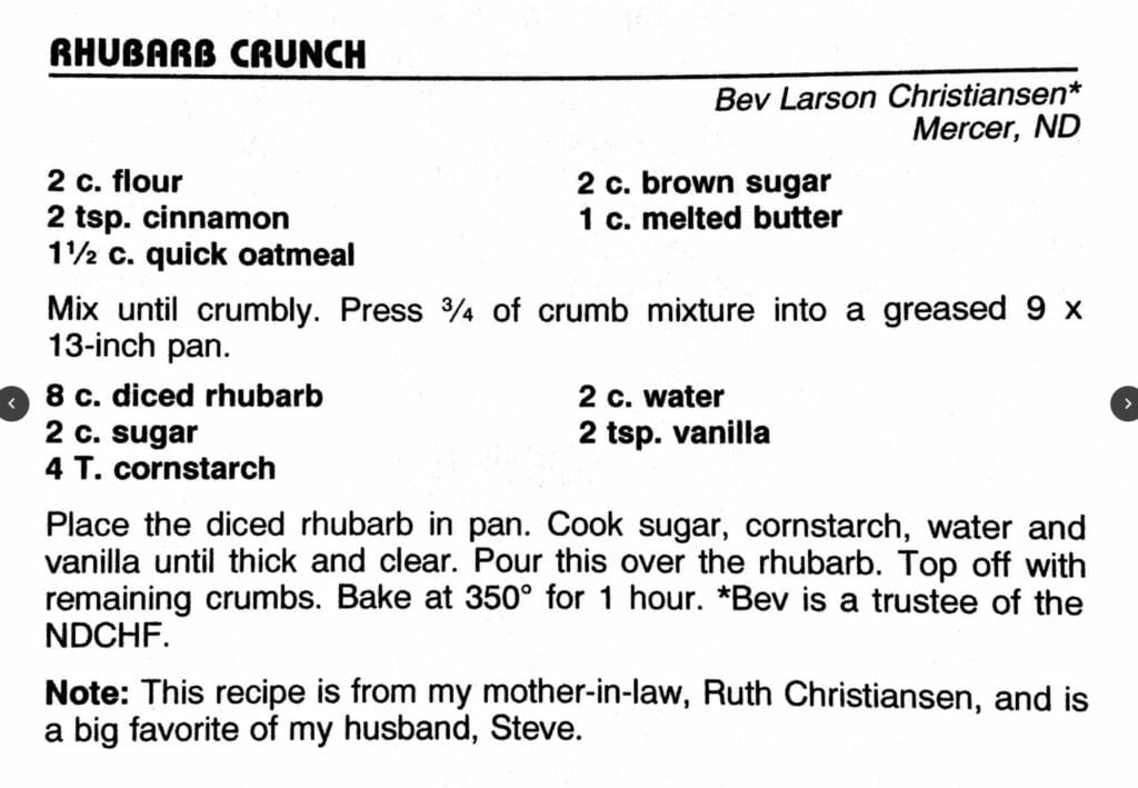 Rhubarb Crunch, Cowboy Hall of Fame Cookbook