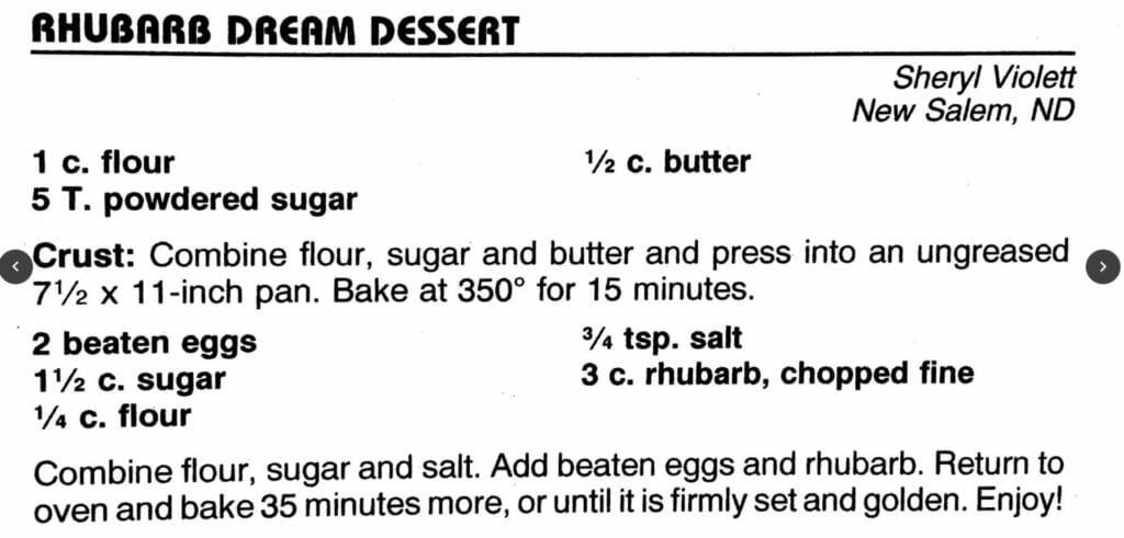 Rhubarb Dream Dessert, Cowboy Hall of Fame Cookbook