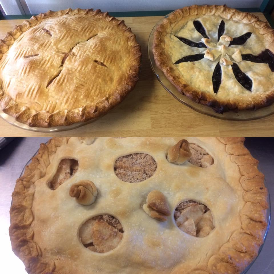 Rhubarb Custard, Blueberry, & Apple Pie from Four Corners Cafe & Catering, Fairfield, North Dakota (photo courtesy Facebook)