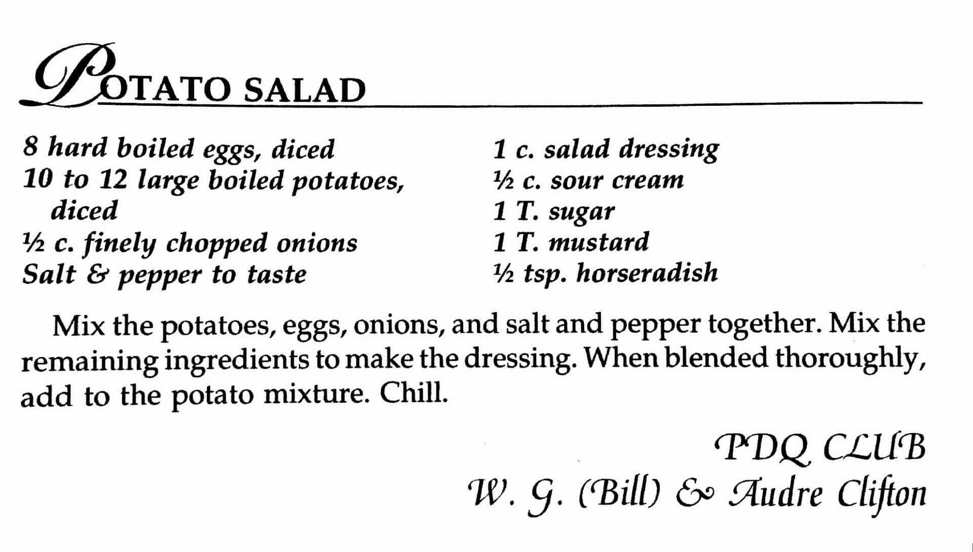 Potato Salad from PDQ Club, A Taste of History Cookbook, Watford City, ND