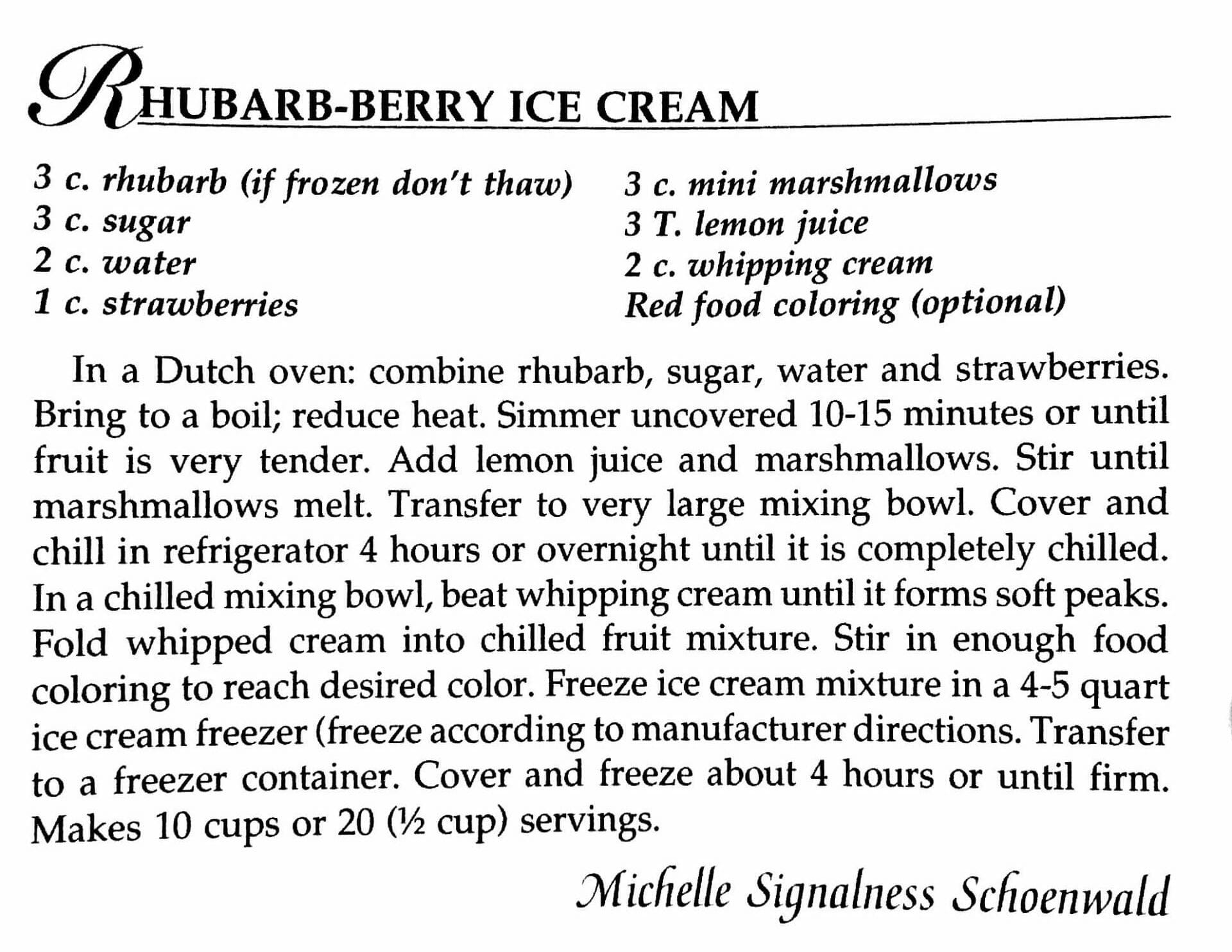 Rhubarb-Berry Ice Cream, A Taste of History Cookbook, Watford City, ND