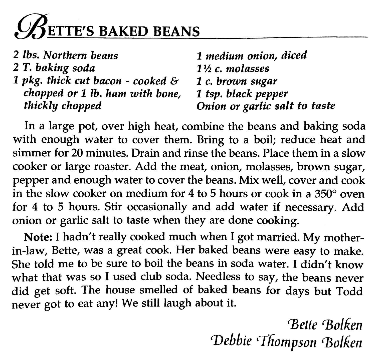 Bette's Baked Beans, A Taste of History Cookbook, Watford City, ND