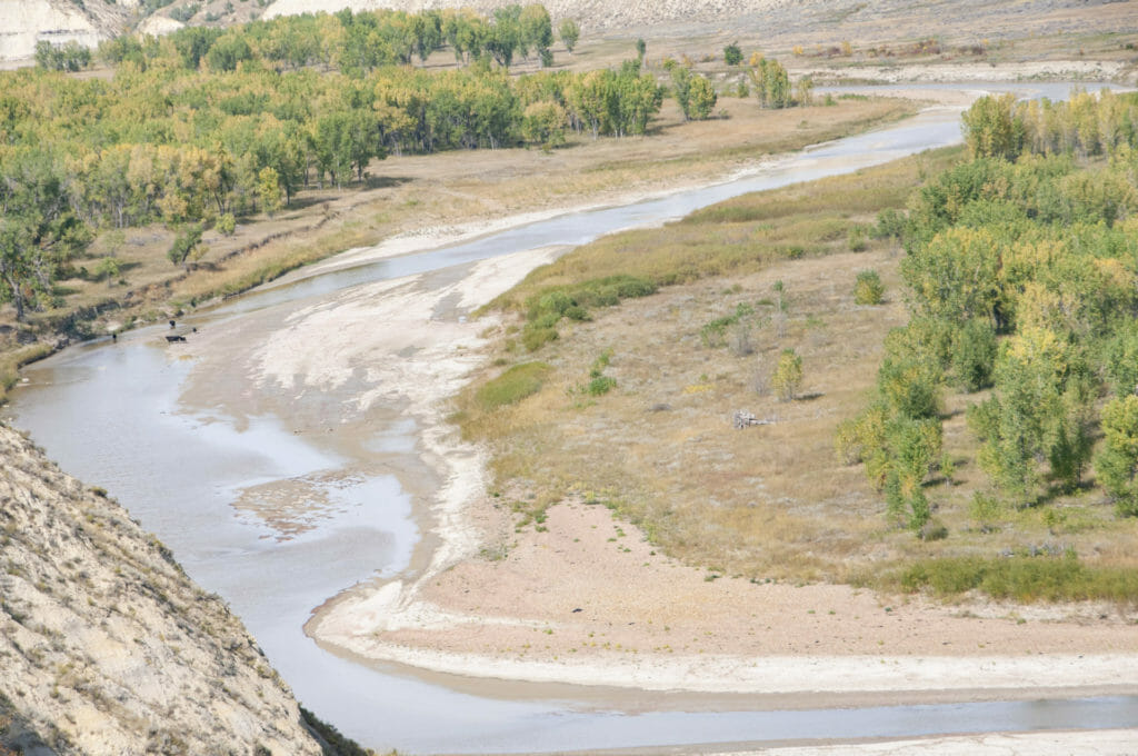 North of the Elkhorn Ranch, the Little Missouri River is usually a lazy, shallow stream