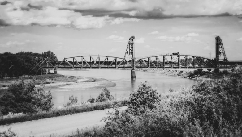 Snowden Bridge in Modern Times, viewed from the west, south side of the Missouri River.