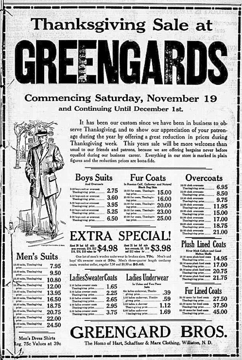 Thanksgiving Sale at Greengards, Williston Graphic. November 17, 1910