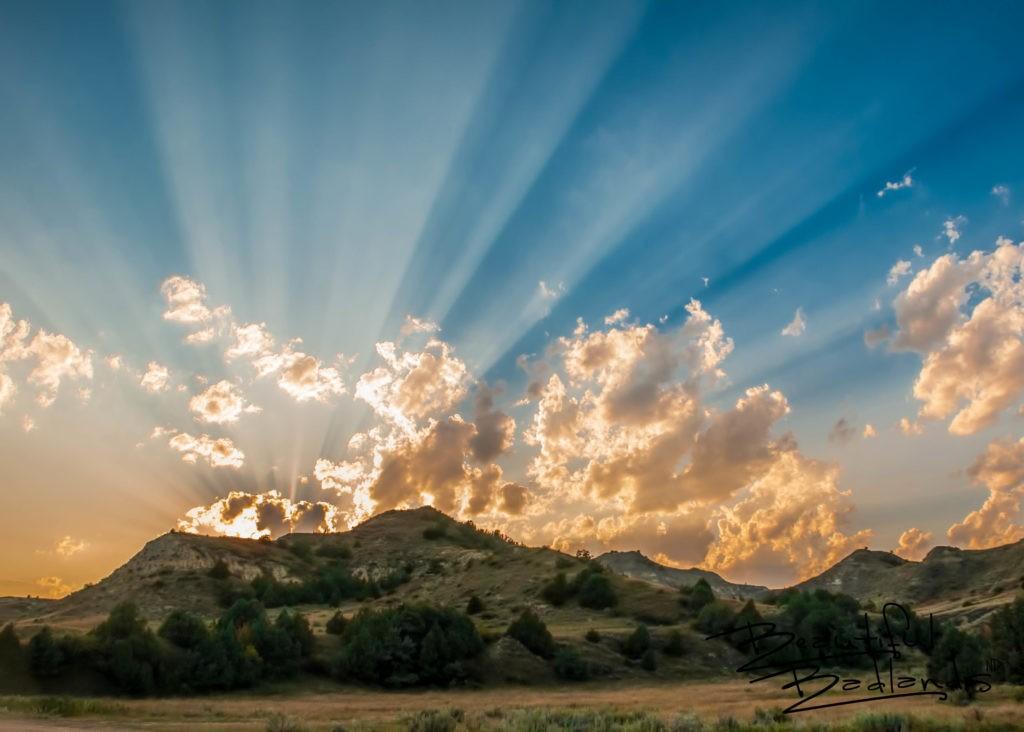Sun Begins to Set Over the Elkhorn Ranch, North Dakota