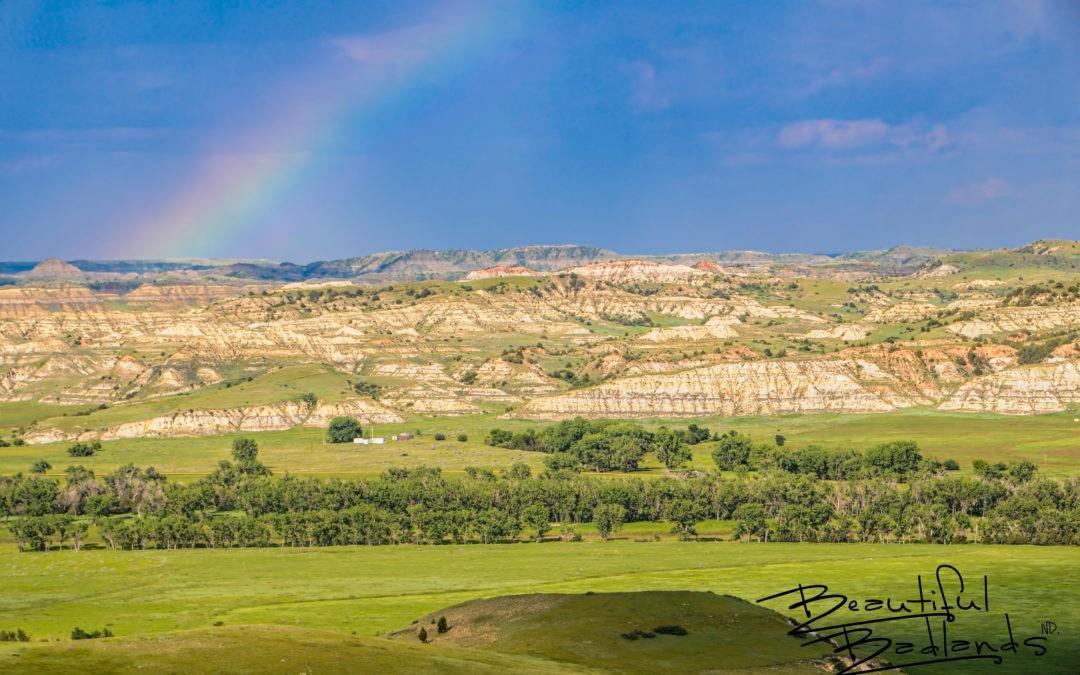 Rainbow Over the Emerald Green Badlands of North Dakota