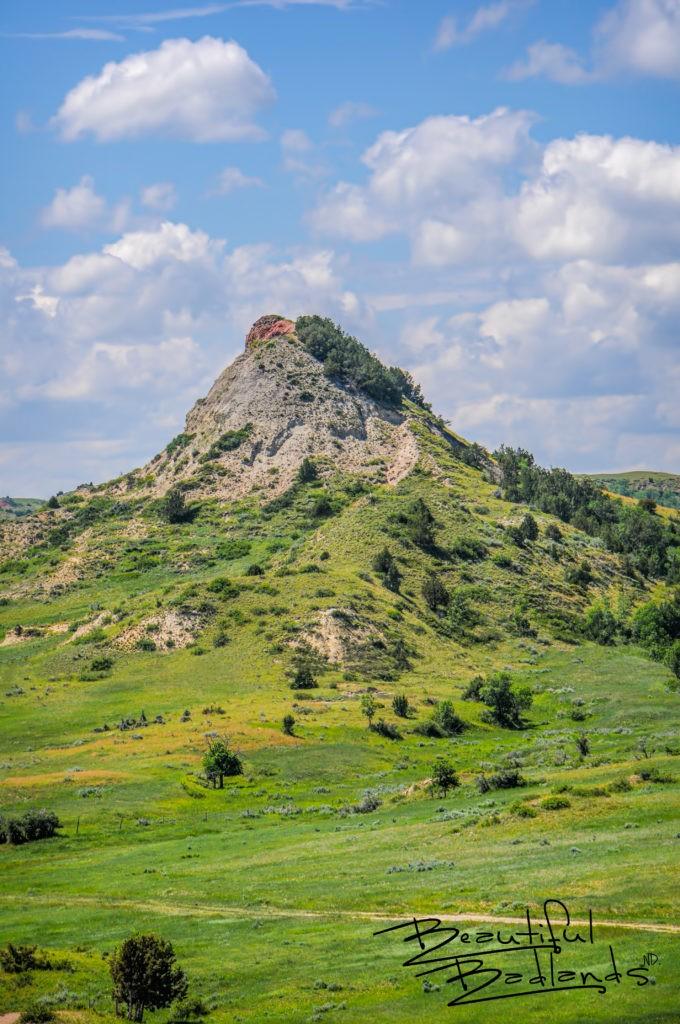 Chimney Butte in Emerald Green of the Grasslands and Badlands, North Dakota