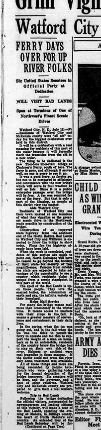 Bismarck Tribune story on Roosevelt Bridge